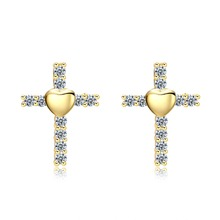 Cute Cross heart Crystal Stud Earring Paved Shiny Austrian Cubic Zirconia Trendy Gold-Color Jewelry for Women