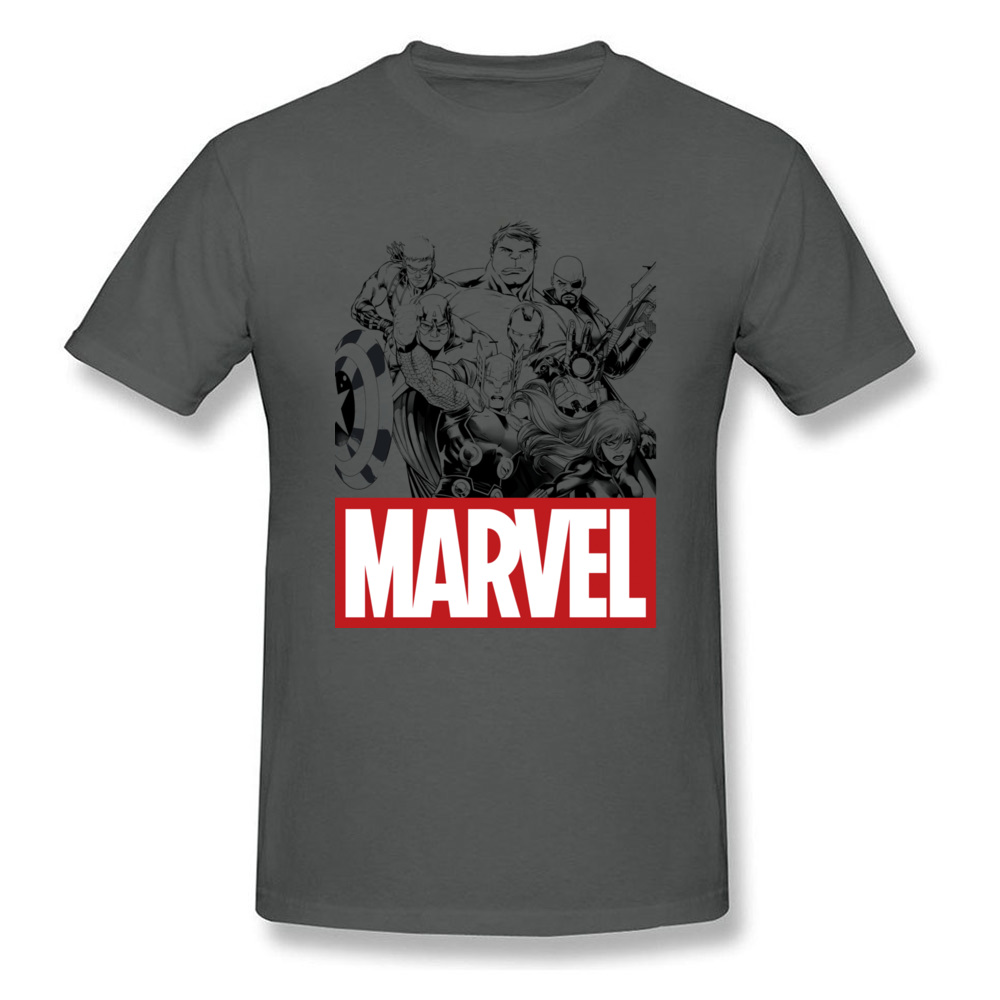 Newest Male Top T-shirts Crew Neck Short Sleeve 100% Cotton Star Wars Marvel Heroes Logo Tops & Tees Print Tops & Tees Marvel Heroes Logo carbon