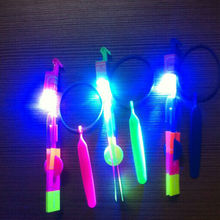20Pcs LED Light Up Flashing Rubberband Slingshot Helicopter rotating Flying Toys(China)