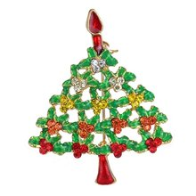 Merry Christmas tree brooches crystal plant  vintage Brooches Rhinestone brooches for women Xmas  decoration jewelry