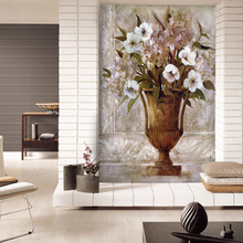 European painting flower vase painting wallpaper wallpaper background porch corridor restaurant self-adhesive cloth