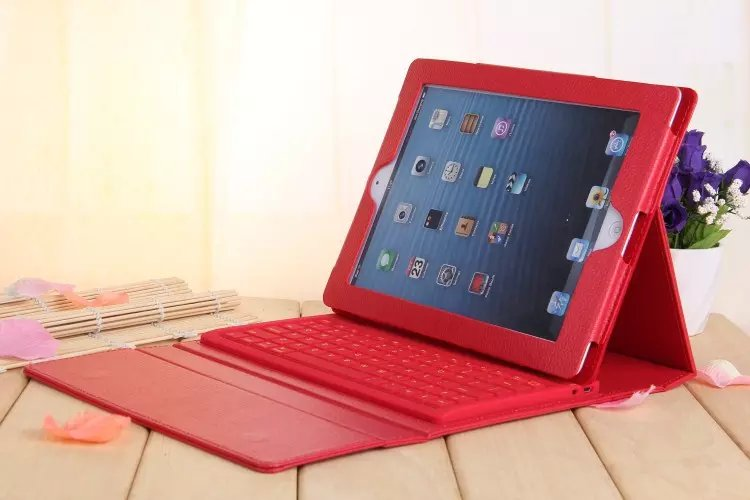 Hot Sale Wireless Bluetooth Keyboard PU Leather Case For Apple iPad 2 3 4 9.7 Bracket Standing Case Cover<br>