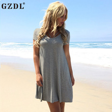 GZDL New Arrival Women's Fashion Summer Gray Round Neck Halter Short Sleeve Solid Thin Plain Casual Mini Shift Dress M L CL3091