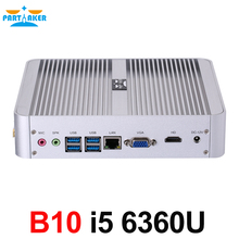 New 6th Generation Fanless Mini pc Core i5 6360U Barebone Windows 10 Mini PC Nettop 4K VGA HDMI HTPC 300M WiFi DDR4 RAM