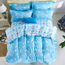 Kids twin bedding set,4pc bed Sheet ,100% Polyester Blue Tree Print Duvet Cover Sets,King Queen Size Bedlinen