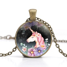 Buy Cute Unicorn Vintage Necklace Antique Bronze Chain Glass Cabochon Pendant Necklace Women Retro Handmade Jewelry Party Gift for $1.05 in AliExpress store