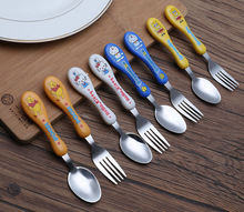 Fashion Children Cartoon Cutlery Set Stainless Steel Forks Sets Portable Cute Travel Kids Dinnerware Set(China)