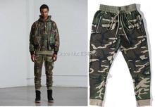 2017 Best Version fog FEAR OF GOD side zipper camouflage pants Hiphop Fashion army green joggers sweatpants justin bieber S-XL(China)