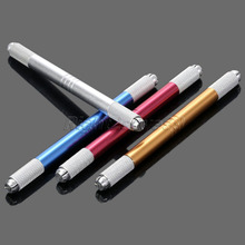 Double Head Manual Pen Tattoo Machine Permanent Makeup Eyebrow Dual-head Microblading Needle blade Cosmetic Red Blue Gold Silver