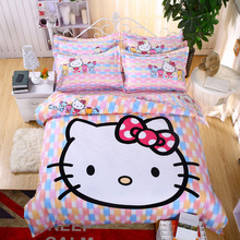 Cartoon 3D Bedding Set Hello Kitty Printed for Kids Cotton Bed Linen 4pcs Duvet Cover Bed Sheet / Fitted Sheet Pillowcases(China)