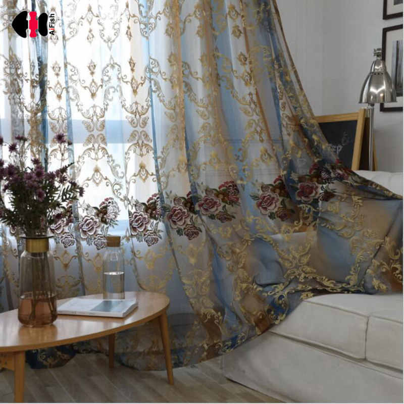 Free Shipping European Luxury Embroidery Hollowed Jacquard Fancy Design Sheer Curtain Panel Blind For Living Room WP006B
