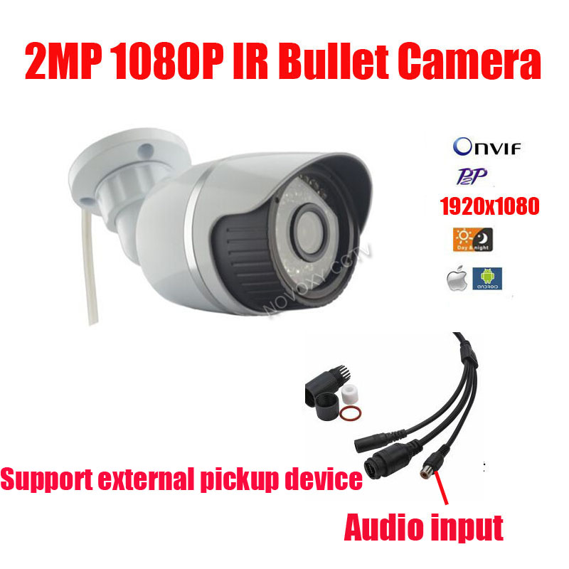Free shipping 2MP 1080P IP Camera Outdoor indoor Audio 2MP Camera IP With External Microphone Pickup Outdoor Bullet CCTV<br>