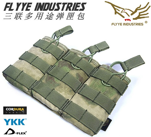 Free shipping In stock FLYYE genuine MOLLE EV Universal Triple Mag Pouch  Military camping hiking modular  CORDURA PH-M025<br>