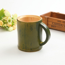 Handmade Natural bamboo tea cup Japanese style beer milk cups with handle green eco-friendly travel crafts home decoration(China)