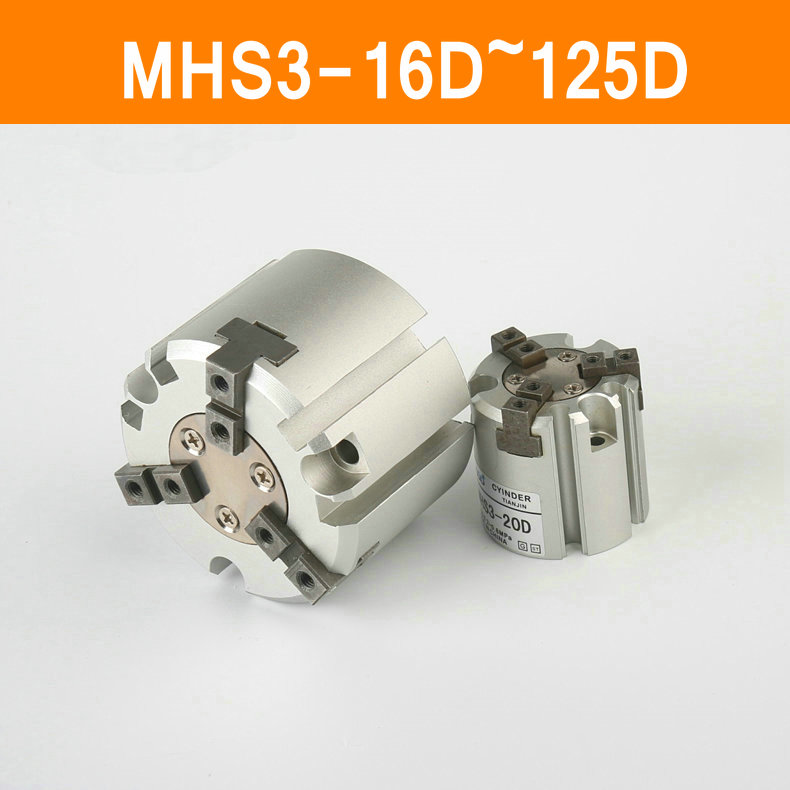 MHS3 16D 20D 25D 32D 40D 50D 63D 80D 100D 125D Parallel Style Air Gripper 3 Finger Double Action Rotating Cylinder Bore 16-125mm<br>
