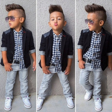 Fashion Boys Clothing Set 2016 Kids Blazer Boys Blazers Jacket+Shirt+Jeans Children Clothing Set For 2-8T Boys Clothes Z379