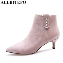 ALLBITEFO hot sale Nubuck leather pointed toe medium heel women boots brand rivets high heel shoes ankle boots girls boots(China)