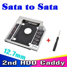 "Sata 2.5"" SSD HDD HD Hard Disk Driver External 2nd Caddy SATA 3.0 Case Enclosure for 12.7mm CD DVD ROM Optical Bay for Notebook(China)"