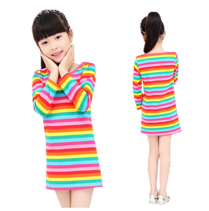 2016 girl dresses Rainbow girl print dress brand childrens clothing spring new princess dress for girl baby clothting available<br><br>Aliexpress