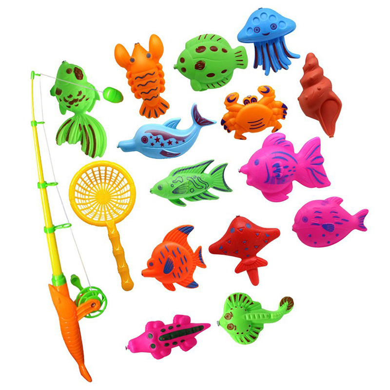 Bath Toy Fishing Fish Model Magnetic Bathtub Set Gift for Baby Child – 15pcs