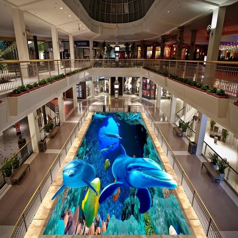 Free Shipping Underwater World Dolphin 3D Floor anti-skidding studio thickened custom waterproof lifelike conference wallpaper<br><br>Aliexpress