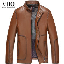 VHO light brown motorcycle genuine leather jackets outerwear men's fashion real sheepskin short slim biker leather jacket coats(China)