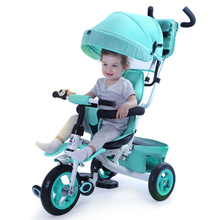 Children tricycle baby bike inflatable wheel 1-3-5 year old baby trolley bike stroller(China)