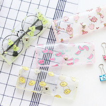 1PC Transparent Plastic Soft Eye Glasses Protector Case Metal Button Sunglasses Box
