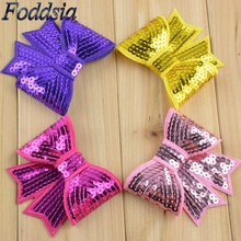 "Foddsia 32pcs/lot Large 3"" Sequin Bows Applique Bow Knot Embroidered Boutique Hair Bows Girls Hair Bows DIY Hair Accessories F18"