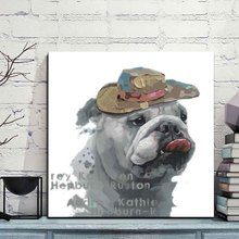 Animal Canvas Art Bulldogs With Cowboy Hats Spray Painting Modern Colourful Cute Dog Wall Picture for Living Room Decor 1 PCS