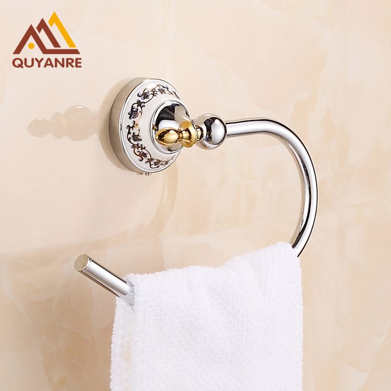 Free Shipping Chrome Bathroom Towel Ring Half Wall Mounted Round Brass Towel Holder<br>