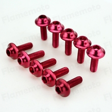 10pcs Red Motorcycle Bolts Screw M5 x 16mm Aluminum adornment