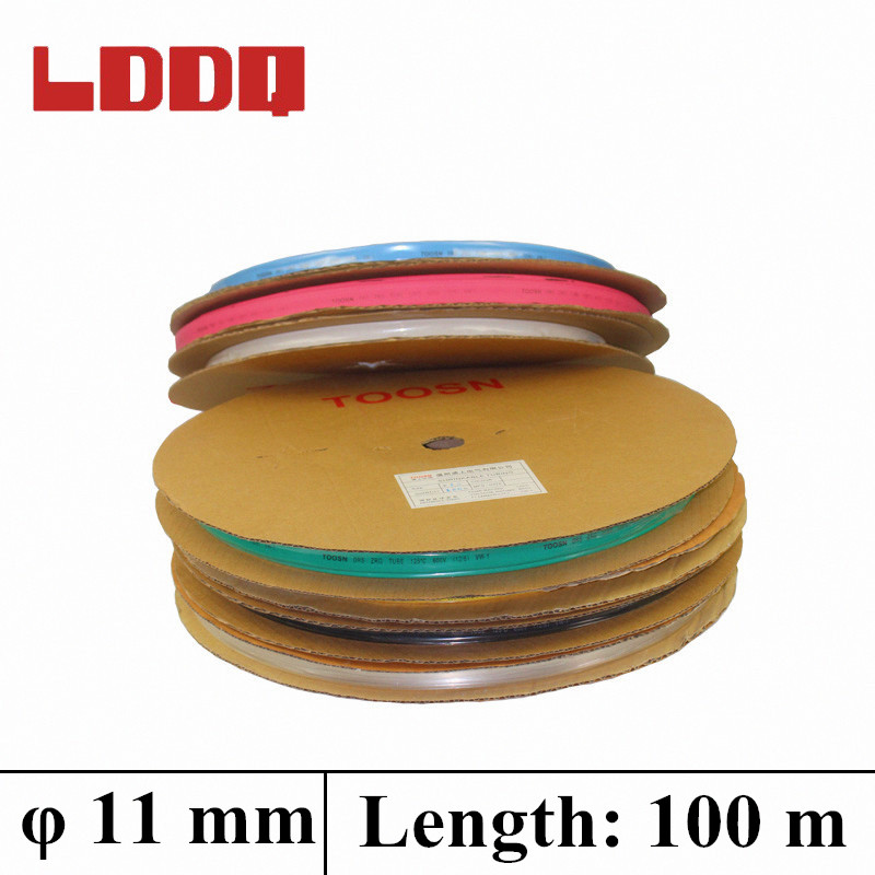 LDDQ 100m Heat Shrink Tubing Tube Sleeving 7colors Available Heatshrink 11mm Wire Wrap Shrink 2:1 Insulation Sleeve In Rolls    <br>