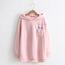 Hoodies Women Harajuku Rabbit Embroidery Pocket Cotton Long Sudaderas Mujer Velvet Long Sleeves Ears Hooded Pullover Sweatshirt(China)
