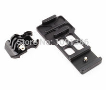 CNC Aluminum Side Picatinny Weaver Gun Guide 20mm Rail Mount + Buckle Mount for GoPro Hero 5 4 3+ 3 2 1 action sport Camera