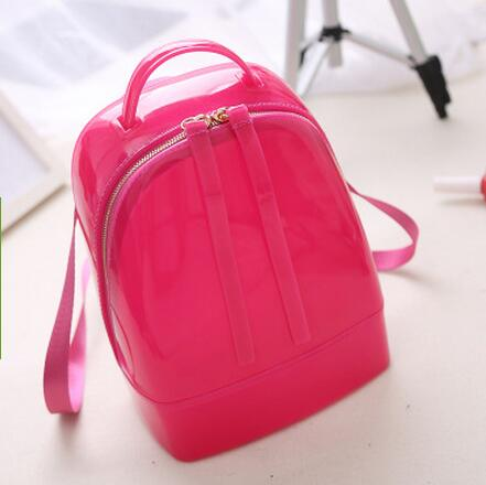 New Fashion Candy Color Backpack Cylindrical Type Transparent Crystal Bag Silica Gel Jelly Tote Bag for Women Beach Bags<br>