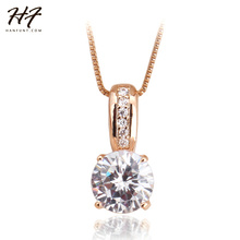 Top Quality Rose Gold Color Classic AAA+ Cubic Zirconia Crystal Pendant Necklace Jewelry For Women Wholesale N330(China)