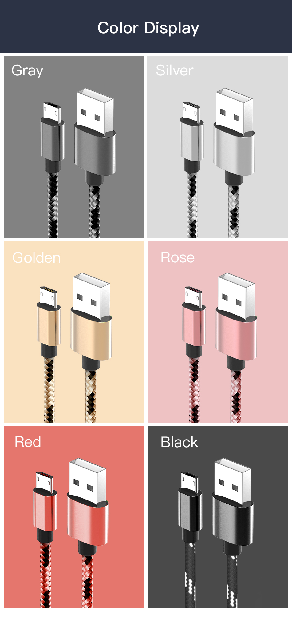 !ACCEZZ 2.4A Micro USB Cable For Samsung Galaxy S7 S6 Xiaomi Redmi 4A Android Mobile Phone Charger Cable Cord Durable Data Wire (6)