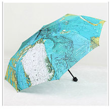 Blue English World Earth Map Umbrella Three-folding Artistic Flower Cute UV Protection Personality Automatic Sun Sunny Umbrellas