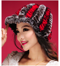 Rex fur hat new bowler hat hat lady Korean peaked cap short thick fur(China)