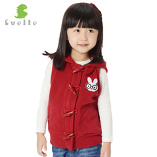 Svelte Brand 2017 New Spring Autumn Children Girls' Fleece Hooded Vest Kids Girl Polar Fleese Waistcoat with Rabbit Ears Clothes(China)