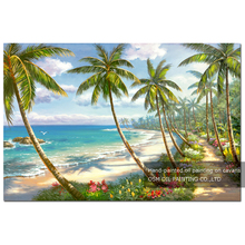 Strong Painter Team 100% Hand-painted High Quality Palm Tree and Seaside Oil Painting on Canvas Handmade Summer Oil Painting