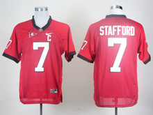 NIKE Georgia Bulldogs Matthew Stafford 7 Red C Patch Colegio Jerseys del Hockey Sobre Hielo Tamaño M, L, XL, 2XL, 3XL(China)