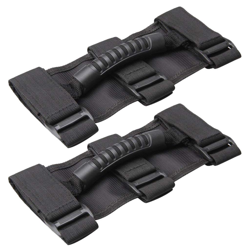 Black 4pcs X AUTOHAUX Car Adjustable Grab Handle Set for Jeep Wrangler Roll Bar