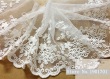 10yards/pack 11cm White/Black Cotton Mesh Lace Flower Embroidery Lace Cloth Accessary(China)