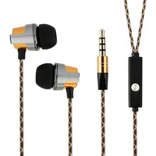 Aluminum Casing Earphones with microphone High Stereo Audio Sound With Strong Bass for smartphone Golden color with snake cable(China)