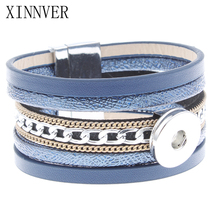 Buy New Fashion Blue Leather Multi Layer Bracelet Xinnver Snap Bangle Magnet Buckle Fit 18MM Snap Button Women Snap Jewelry ZE211 for $2.75 in AliExpress store