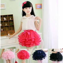 Girls tutu skirts wholesale baby ballerina skirt childrens chiffon fluffy pettiskirts kids Hallowmas casual candy color skirt