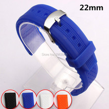 1pcs New Durable 22mm Silicone Rubber Watchband Waterproof and Soft Sport Black White Orange Blue Straps for Men Women On Sale(China)