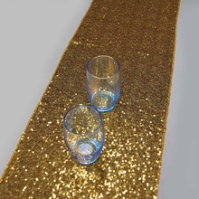15 pcs 14''x108''/36cmx274cm Luxury Gold Sequin Table Runner Wedding Party Table Decoration Solid Color Gold Table Runners(China)
